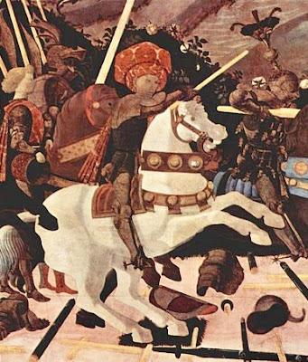 Paolo Ucello : La bataille de San Romano  Nicola da Tolentino (détail) Londres national Gallery