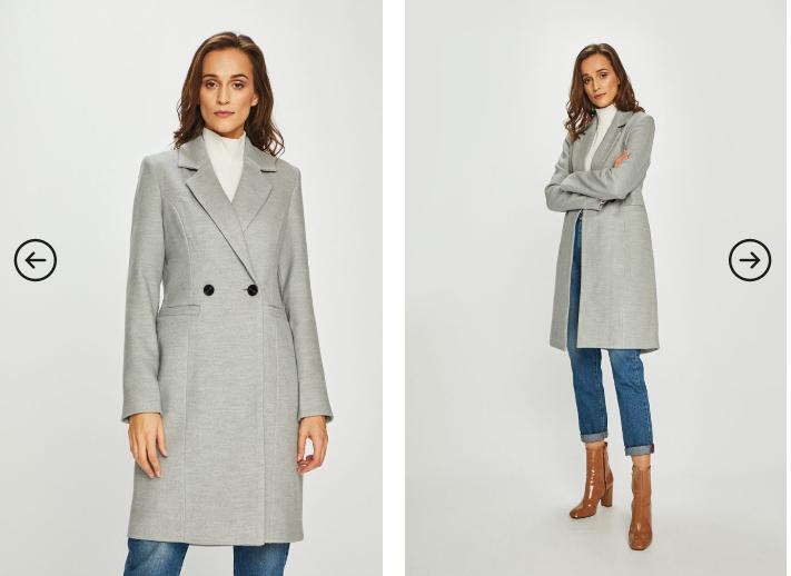 Vero Moda - Palton gri pentru birou modern elegant de iarna