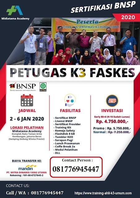 Petugas K3 Fasilitas Kesehatan murah tgl. 2-6 Januari 2020 di Jakarta