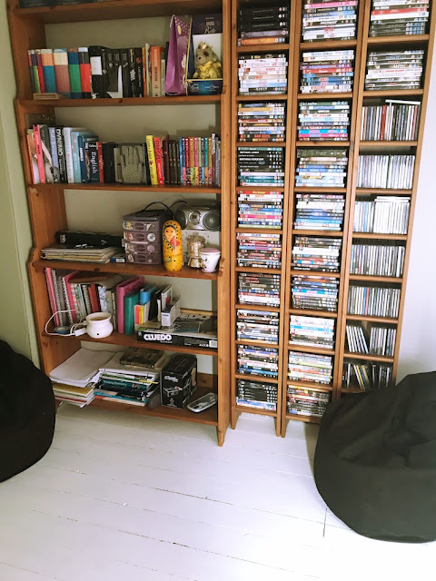 transforming a spare bedroom into a multi functional room - book cases
