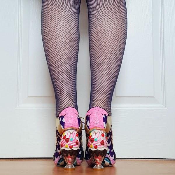 back view wearing ice cream sundae heeled shoes