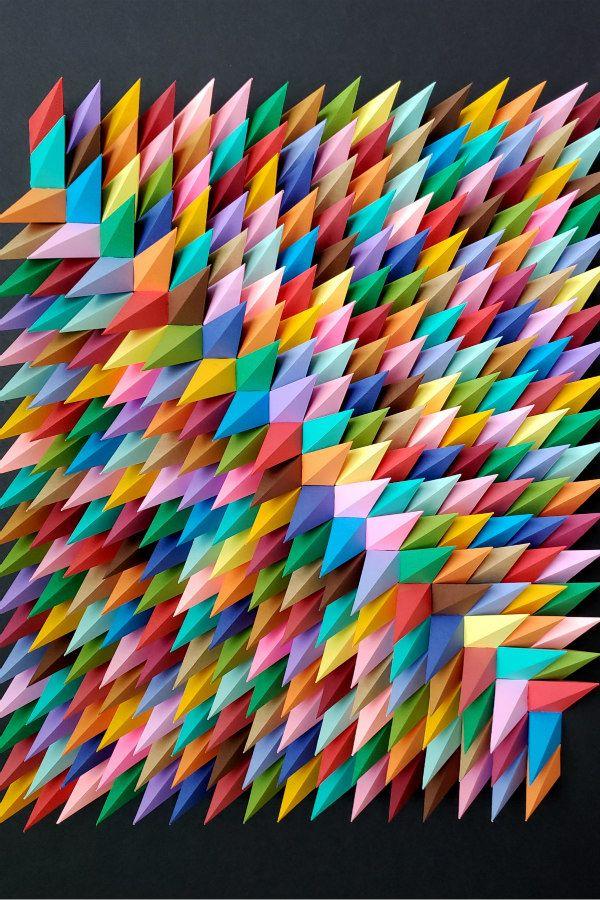 multicolor dimensional geo paper art