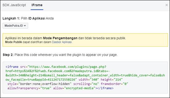 Kode Script Fans Page Facebook