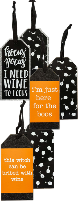 PRIMITIVES BY KATHY Halloween Wine Tags (set of 3)