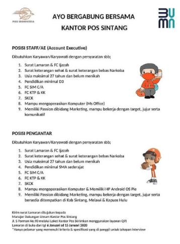 Lowongan Kerja PT. Pos Indonesia Bulan Januari Tahun 2021