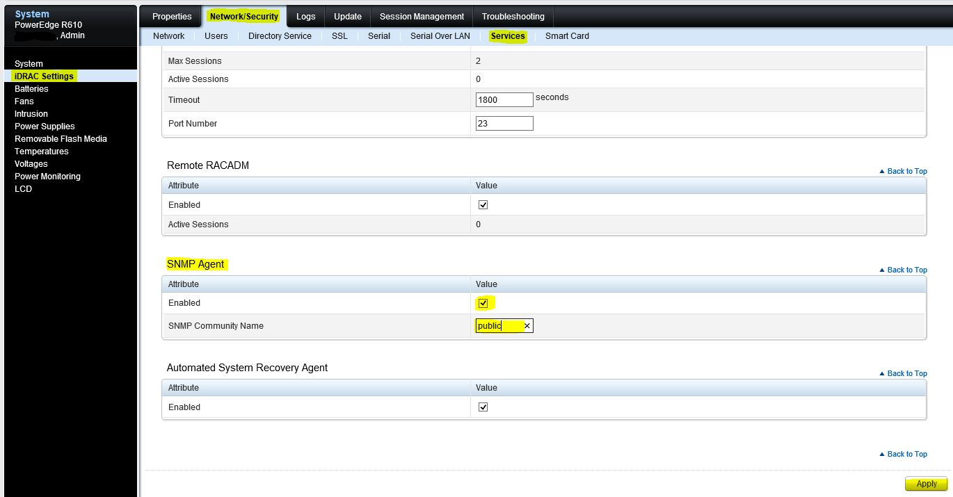Brad's IT JumpBag: How to setup all of your iDrac6s for SNMP