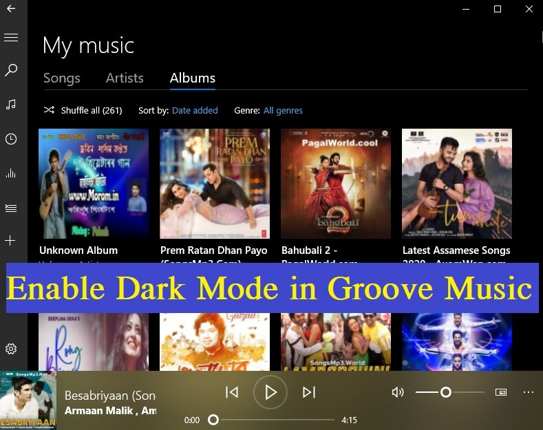 How to enable Dark mode in Groove music