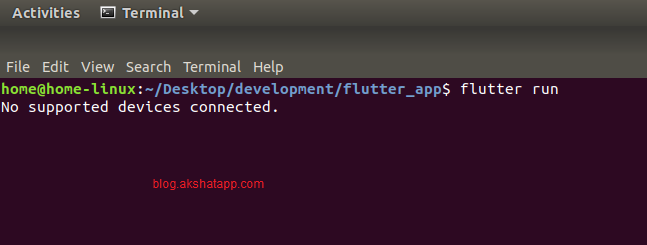 flutter run command - no device