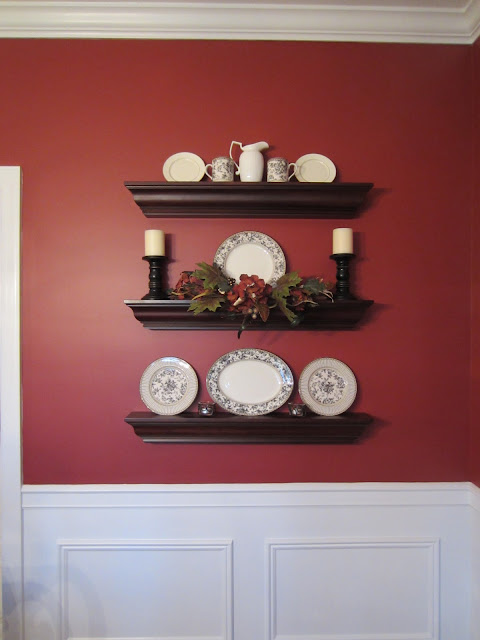 Dining Room Wall Shelves decorated for fall