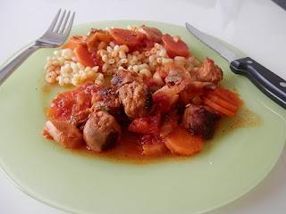 Ragoût provencale saucisse, pâte et carotte