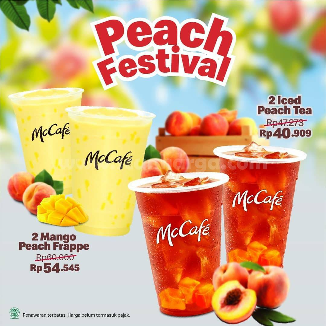 McDonalds Peach Festival - Beli 2 Iced Peach Tea harga mulai 40 Ribuan