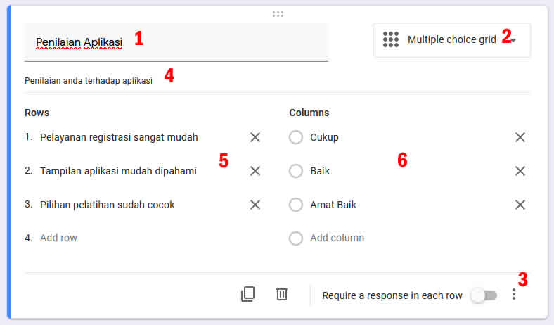 tipe soal Multiple Choice Grid google form