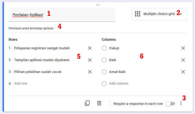 tipe soal Multiple Choice Grid google form