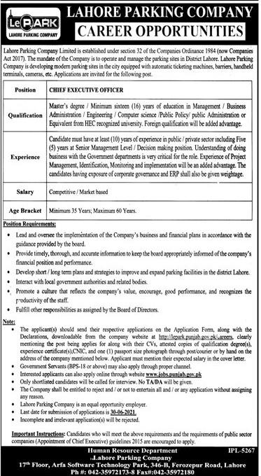www.jobs.punjab.gov.pk - Lahore Parking Company Limited (LePARK) Jobs 2021 in Pakistan