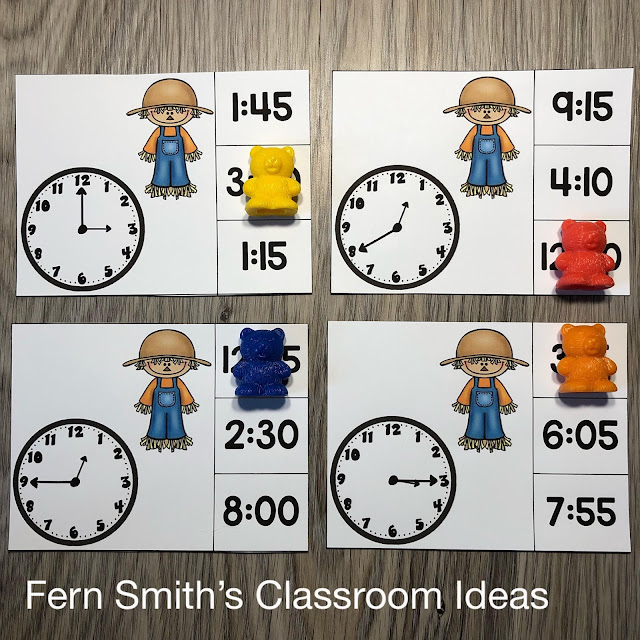 Grab These Fall Scarecrow Themed Time to the Five Minutes Clip Cards for Your Class Today!