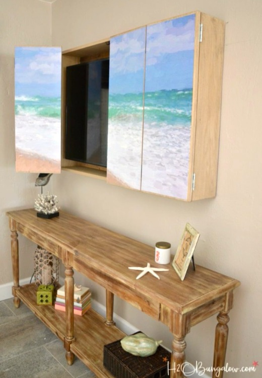 DIY Wall Mounted TV Cabinet with Coastal Art