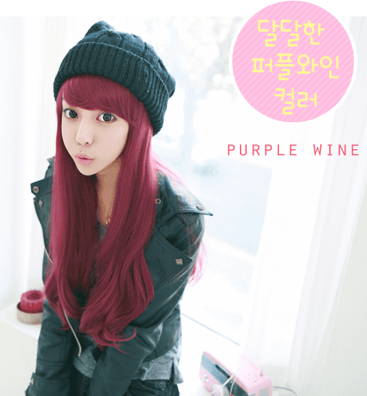 Korean Fashion Beauty Wig - Cherries Jubilee Color Sweet Red Wine Model 1