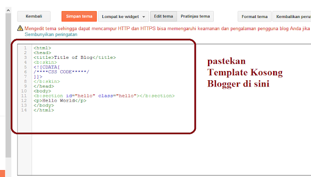 Tahap 3 Cara Memasang Blank Template Blogger