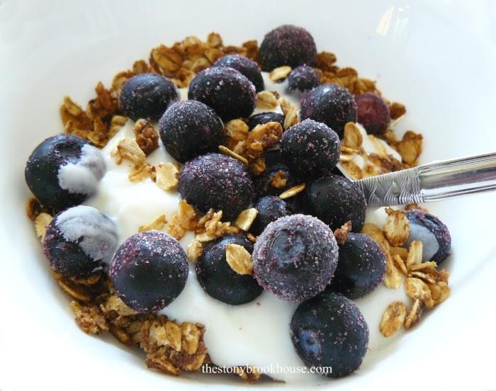 Granola with yogurt and blueberries