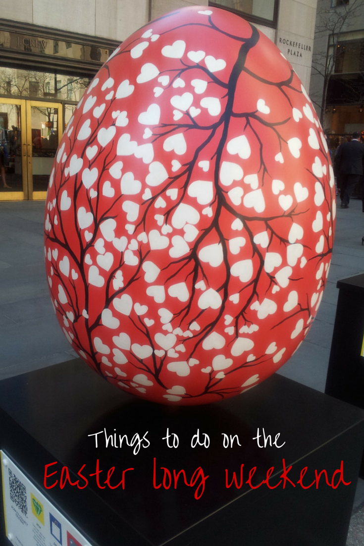 Cherry blossom print faberge egg in NYC, text reads 'things to do on the Easter long weeked'