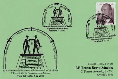 Tarjeta del matasellos de Grucomi, 30 Años de Monumento de la Colladiella