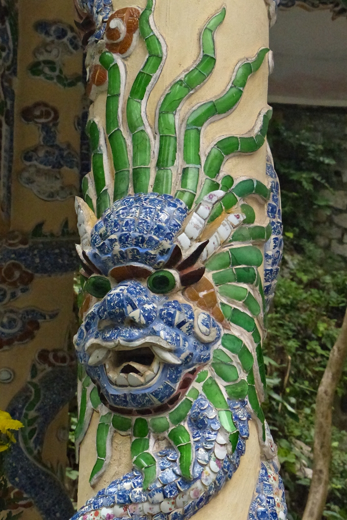 Dragon decorating column of the temple in Marble Mountains Vietnam