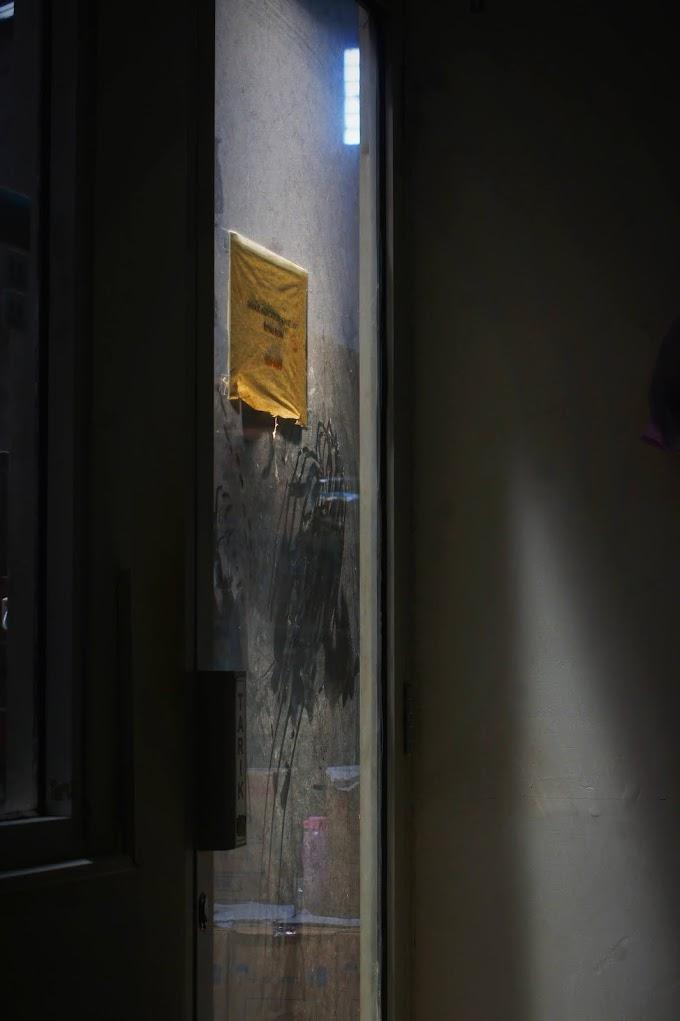 A paper on a door
