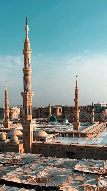 خلفية هاتف تصوير المسجد النبوي من مكان مرتفع أجمل صورة إحترافية