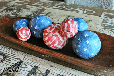 How cute are these mod podged balls for the Fourth Of July?!?