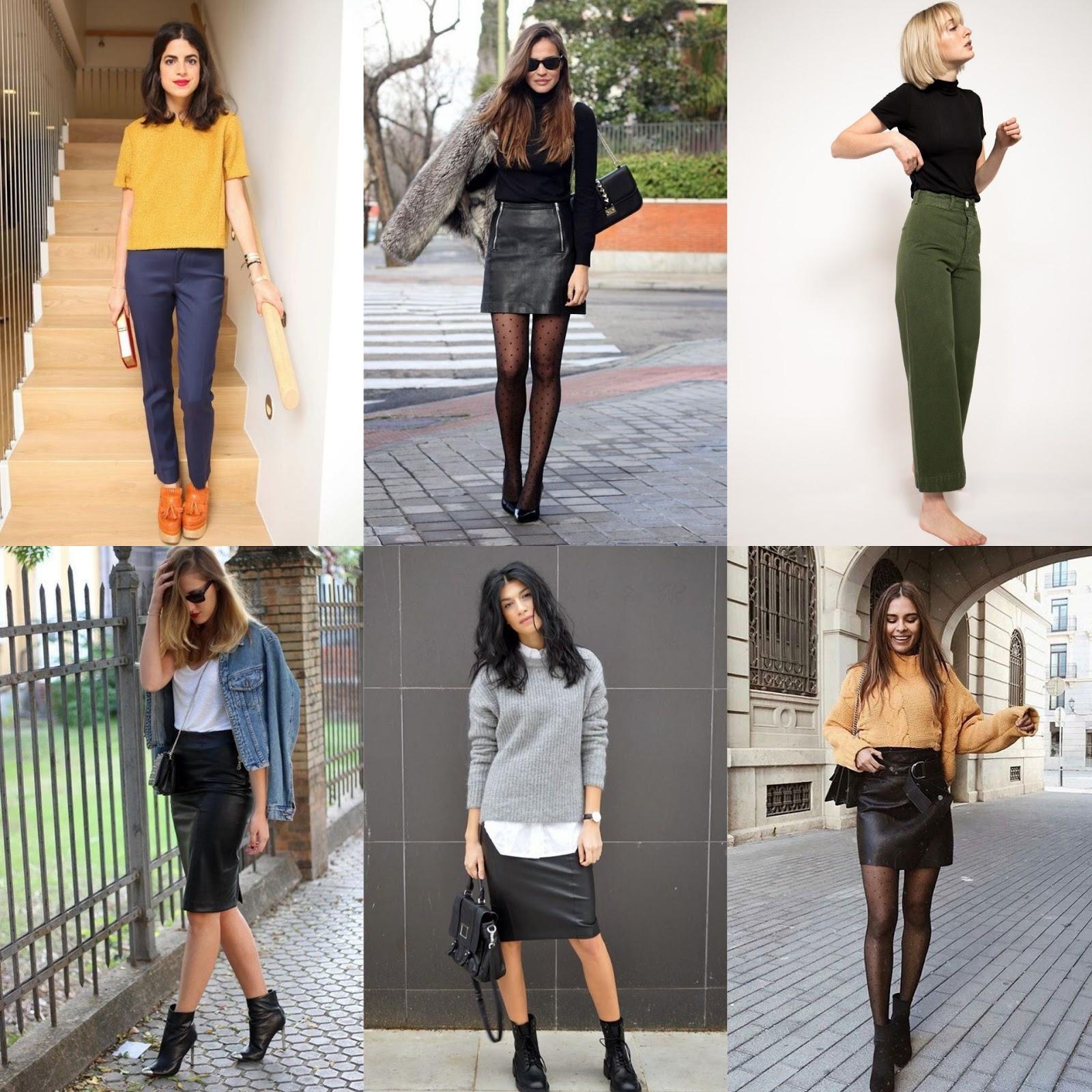Saias e calças de corte reto e cores escuras