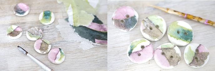 Selbstgemachte Knöpfe aus Fimo | beklebt mit Serviettenpapier