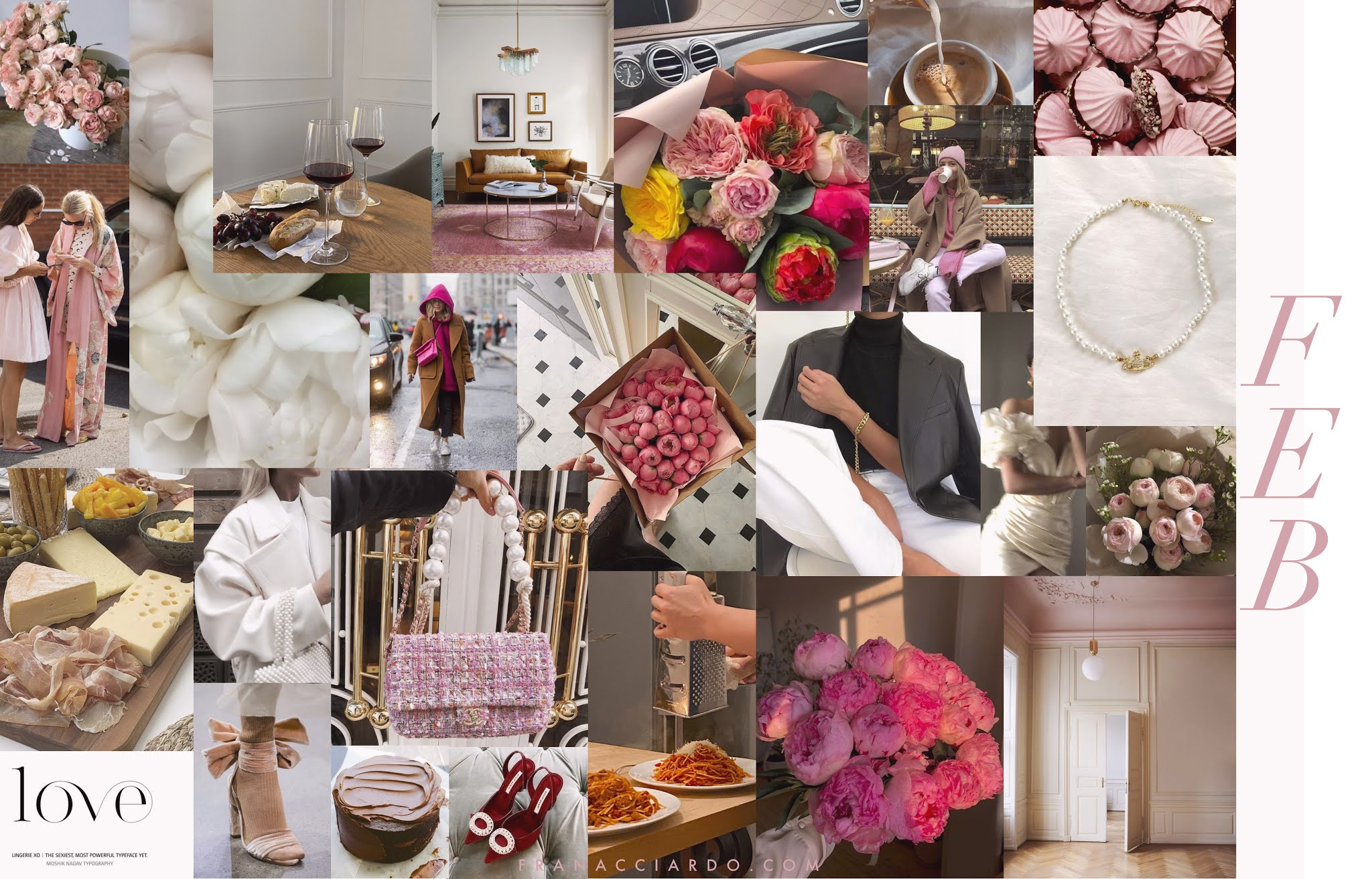 february 2021 mood board pink flowers and love