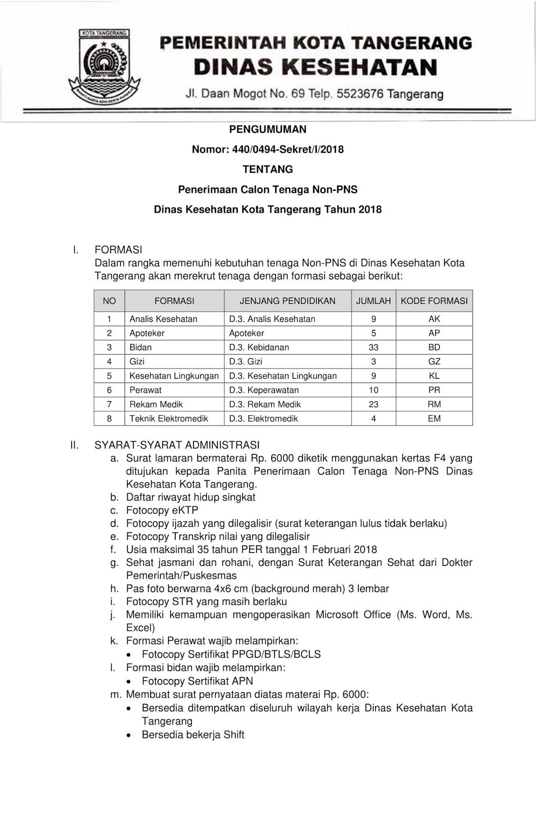 Lowongan Kerja  Rekrutmen Non PNS Dinas Kesehatan Tangerang Besar Besaran   [96 Formasi]  Oktober 2018