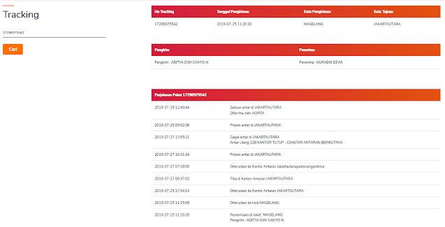 Hasil pelacakan nomor resi PT. Pos Indonesia