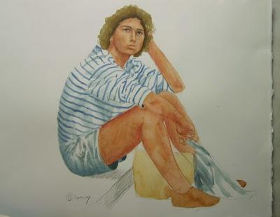 Lyon, crayon, aquarelle, esquisse, jeune homme, papier chiffon,