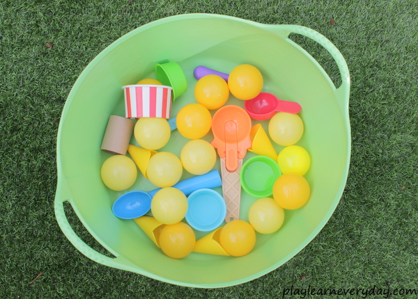 Ice cream scoop and balance game play and learn every day so we decided to fill up a big bucket with ice cream toys and make up our own little game to play in the backyard in the shade ccuart Image collections