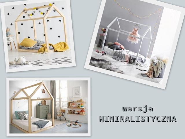 trzy łóżka domki w stylu minimalistycznym