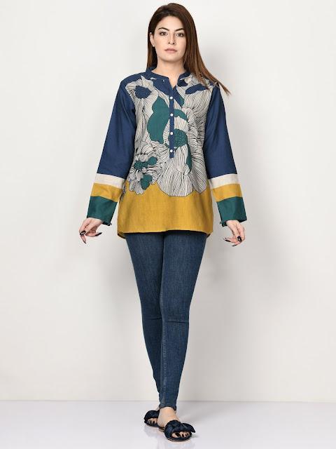 Limelight winter ready to wear blue printed short kurti