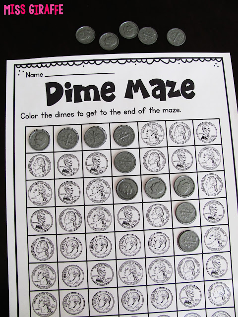 Identifying coins game that is hands on and fun for kids to color in or cover the dimes they see to get through the maze