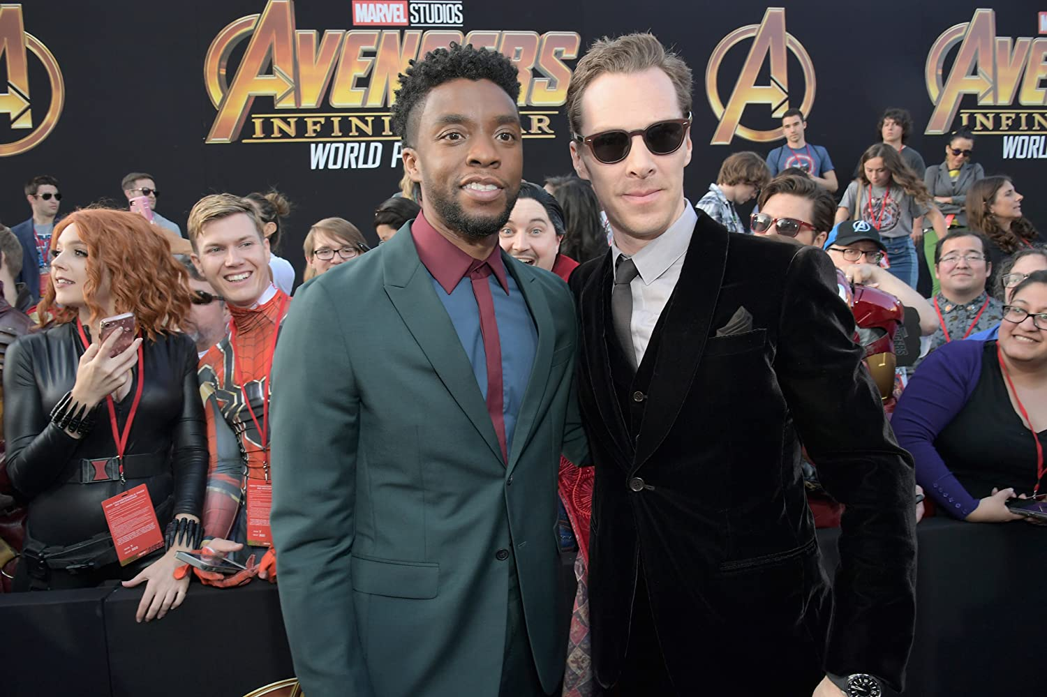 Benedict Cumberbatch and Chadwick Boseman at an event for Avengers: Infinity War (2018)