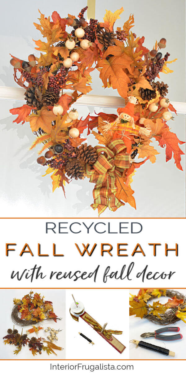 How to make an easy No Brainer DIY Fall wreath by Interior Frugalista with recycled garlands and seasonal picks from previous fall decor that you've grown tired of. Decorating on a budget autumn seasonal decor idea. #recycledwreath #easyfallwreath