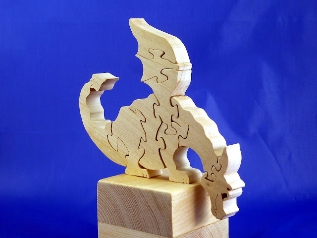 Right Front - Wooden Toy Puzzle - Dragon - Poplar - Unfinished - 7.5x6 Inches