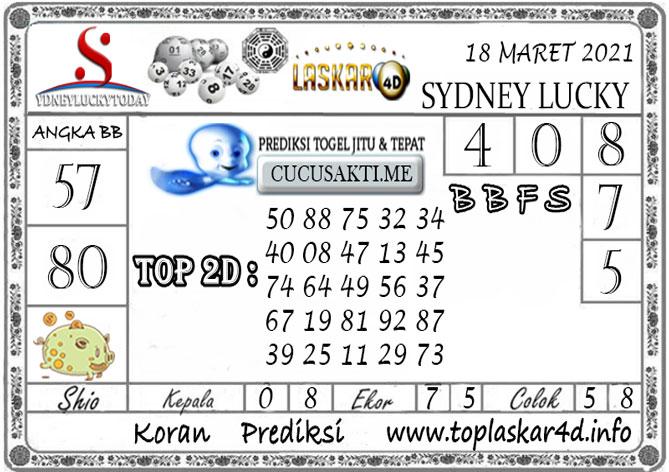Prediksi Sydney Lucky Today LASKAR4D 18 MARET 2021