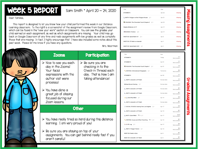 Weekly Report One Pager designed specifically to keep us all on the same page for distance learning.