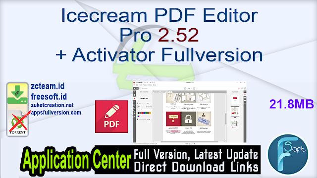 Icecream PDF Editor Pro 2.52 + Activator Fullversion