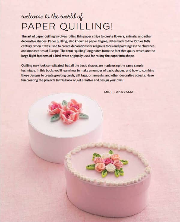 pink paper boxes decorated with two types of quilled roses