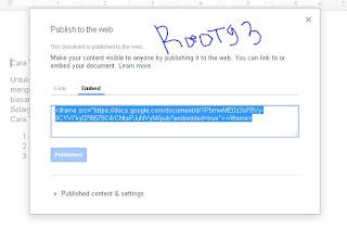 Kode Embed/Iframe dari Google Docs