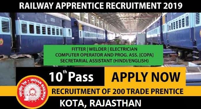 West Central Railway Apprentice Recruitment 2019 Trade Prentice (KOTA)