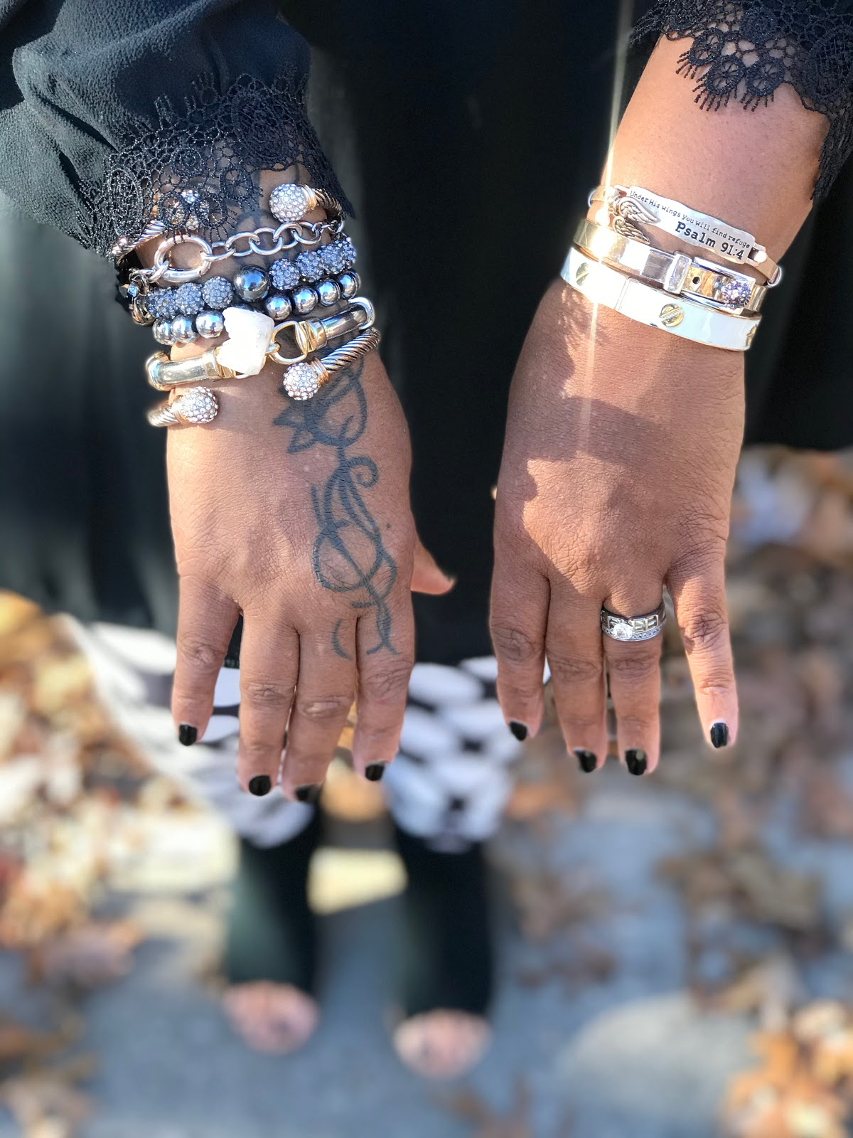 Bracelets on woman's arm. Shopping for Outfit