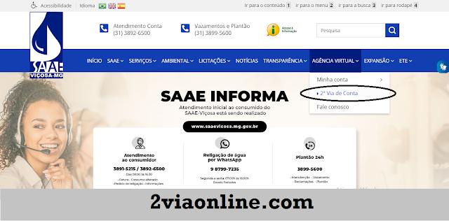Segunda Via SAAE Viçosa-MG